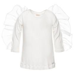 T-shirt volant épaule blanc...