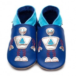 Chaussons cuir robot Inch Blue