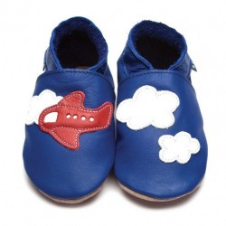 Chaussons cuir avion Inch Blue