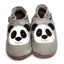 Chaussons cuir panda gris...