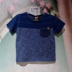 T-shirt bleu bi-matière 9M...