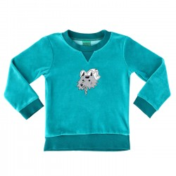Sweat velours bleu loup...