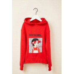 Sweat rouge capuche sequins...