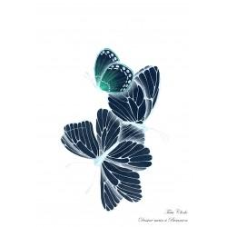 Carte A6 papillons bleus
