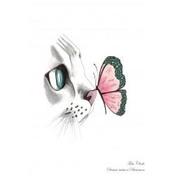 Affiche A4 chat & papillon